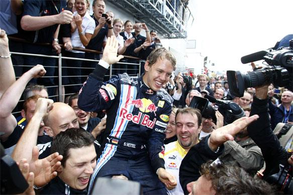 Sebastian Vettel celebrates his British Grand Prix victory